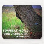 Gato negro y proverbio irlandés tapete de ratón