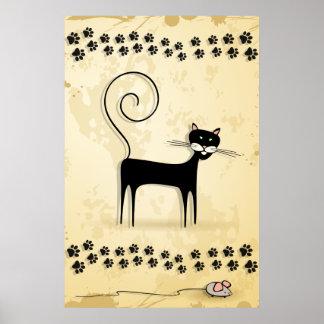 Gato negro y ratón posters