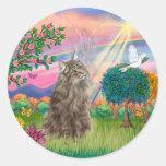 Gato noruego del bosque - ángel de la nube pegatinas redondas