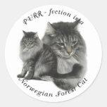 Gato noruego del bosque del Ronroneo-fection Etiqueta Redonda