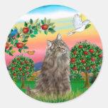 Gato noruego del bosque - país brillante etiqueta redonda