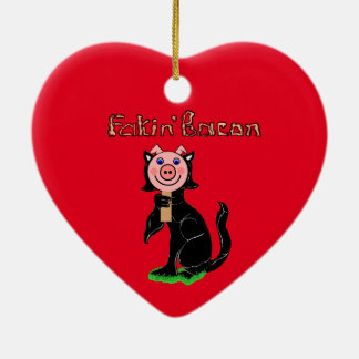 ¿Gato o cerdo? Tocino de Fakin Adorno De Cerámica En Forma De Corazón