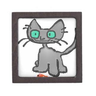 Gato observado azul con su juguete del ratón caja de regalo de calidad