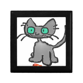 Gato observado azul con su juguete del ratón cajas de regalo
