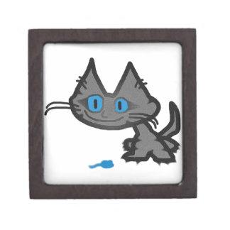 Gato observado azul y su pequeño juguete del ratón cajas de recuerdo de calidad