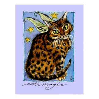 Gato Ocicat mágico con las alas de hadas Postales