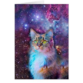 Gato orgulloso con el fondo del espacio tarjeta de felicitación