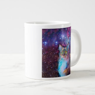 Gato orgulloso con el fondo del espacio taza grande