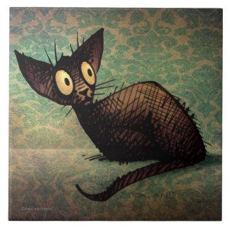 Gato oriental negro divertido lindo azulejo cuadrado grande