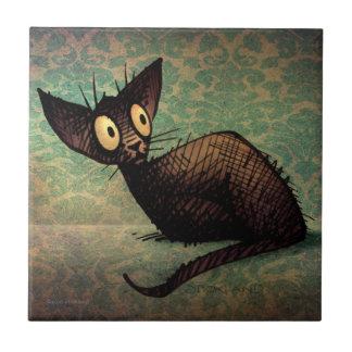 Gato oriental negro lindo azulejo cuadrado pequeño