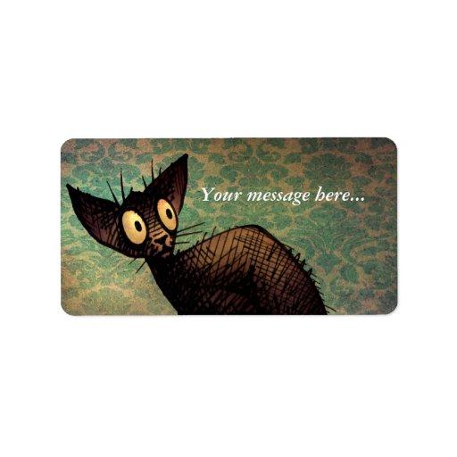 Gato oriental negro lindo etiquetas de dirección
