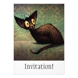 Gato oriental negro lindo invitacion personal