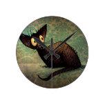 Gato oriental negro lindo reloj de pared
