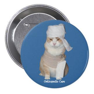 Gato ortopédico divertido pin redondo 7 cm