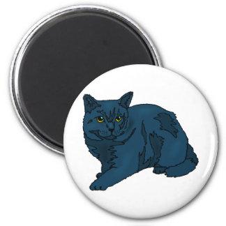 Gato oscuro imán redondo 5 cm