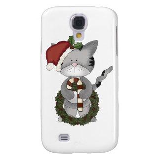 Gato Papá Noel del navidad Funda Para Galaxy S4