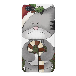 Gato Papá Noel del navidad iPhone 5 Fundas