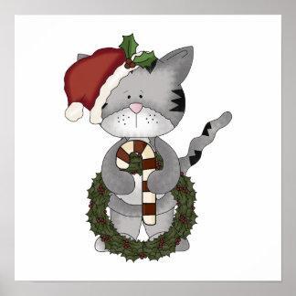 Gato Papá Noel del navidad Poster
