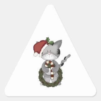 Gato Papá Noel del navidad Pegatina Triangular