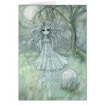Gato paranormal de la tarjeta de Halloween del fan