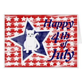 Gato patriótico 4to de la tarjeta de julio