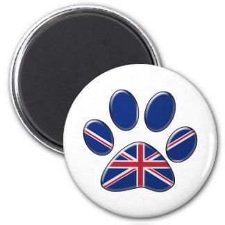 Gato patriótico británico imán redondo 5 cm