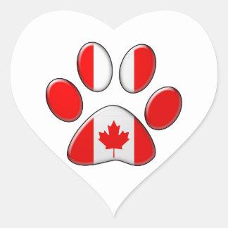 Gato patriótico canadiense pegatina en forma de corazón