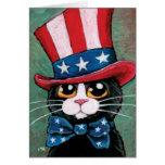 Gato patriótico del smoking el | feliz el 4 de jul felicitacion
