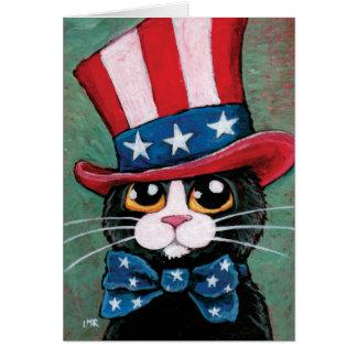 Gato patriótico del smoking el feliz el 4 de jul felicitacion
