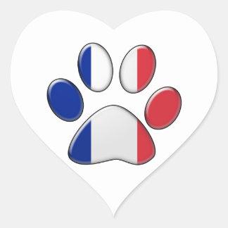 Gato patriótico francés calcomanía corazón