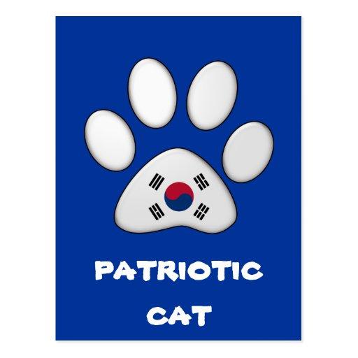 Gato patriótico surcoreano postales