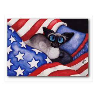 Gato patriótico tarjeta postal