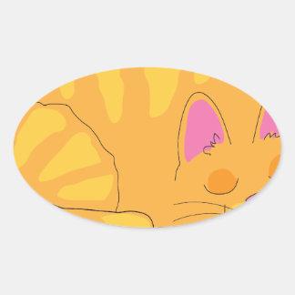Gato Pegatina Ovalada