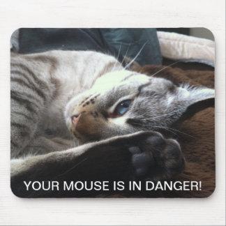 Gato - peligro del ratón alfombrillas de ratón