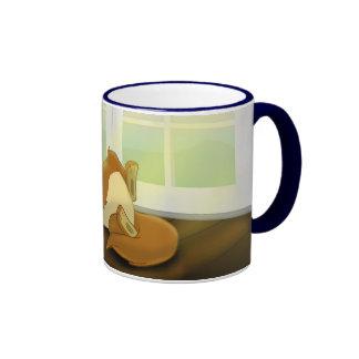 Gato perezoso en fondo taza de dos colores