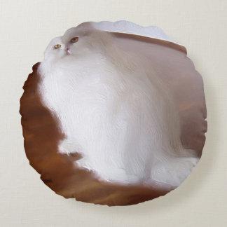 Gato persa blanco cojín redondo