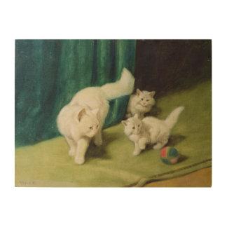 Gato persa blanco con dos gatitos impresión en madera