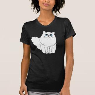 Gato persa blanco con los ojos azules camisetas