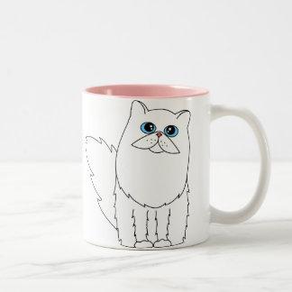 Gato persa blanco con los ojos azules tazas de café