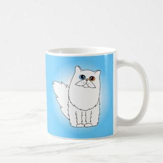 Gato persa blanco con los ojos impares tazas de café