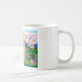 Gato persa blanco - flores taza de café
