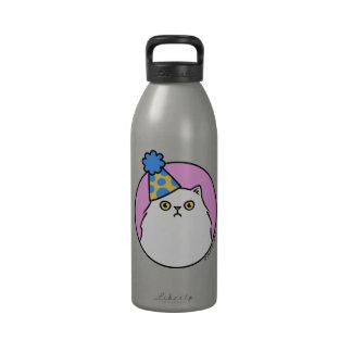 Gato persa blanco gruñón del cumpleaños botellas de agua reutilizables