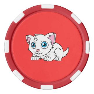 Gato persa blanco lindo feliz con los ojos azules juego de fichas de póquer