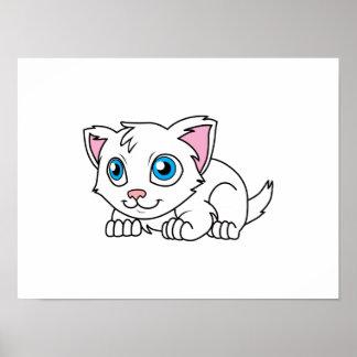 Gato persa blanco lindo feliz con los ojos azules poster