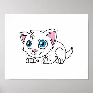Gato persa blanco lindo feliz con los ojos azules posters