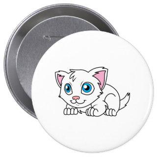 Gato persa blanco lindo feliz con los ojos azules pin