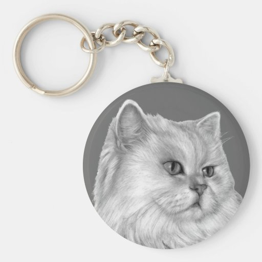 Gato persa blanco llavero redondo tipo pin