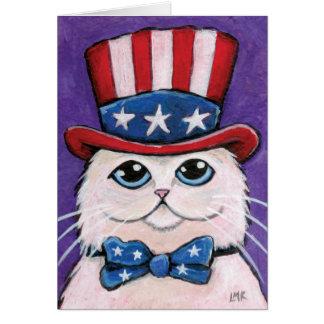 Gato persa blanco patriótico el feliz el 4 de ju felicitaciones