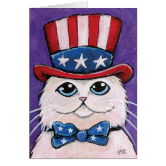 Gato persa blanco patriótico el | feliz el 4 de tarjeta de felicitación
