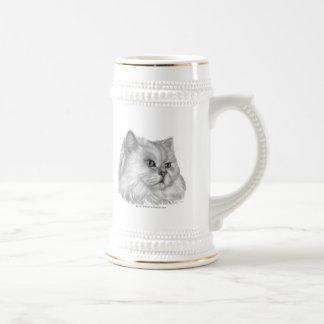 Gato persa blanco tazas